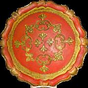 Vintage Hand Painted Italian Florentine Tray
