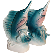 Vintage Blue Swordfish Salt and Pepper Shakers