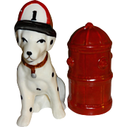 Dalmatian Fire Dog & Red Hydrant Salt and Pepper Shakers