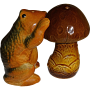 Bull Frog and Mushroom Salt and Pepper Shakers