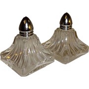 Pair of Square Ribbed Glass Salt and Pepper Shakers