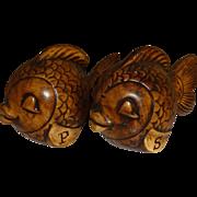 Treasure Craft Brown Fish Salt and Pepper Shakers
