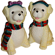 White Puppies Wearing Holiday Scarfs Salt and Pepper Shakers