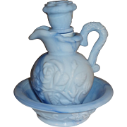 Avon Victoriana Style Blue Pitcher and Bowl Set