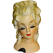 Inarco Blonde Lady Head Vase with Pearls - Made in Japan