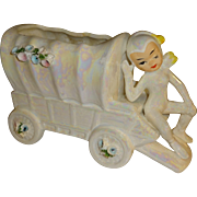 Vintage Lefton Iridescent Pixie Elf Wagon Planter