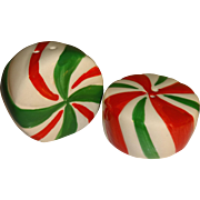 Mini Striped Peppermint Candy Salt and Pepper Shakers