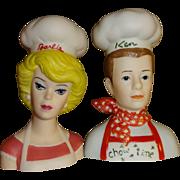 Enesco Barbie and Ken Chefs Salt and Pepper Shakers