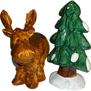 Brown Moose with Pine Tree Salt and Pepper Shakers
