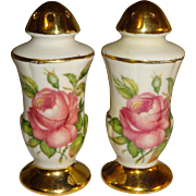 Porcelain Shakers with Gold Trim and Roses Salt and Pepper Shakers