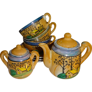 Blue and Tan Lusterware Childs Tea Set - Made in Japan