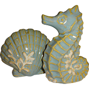 Coastal Blue Seahorse and Shell Salt and Pepper Shakers