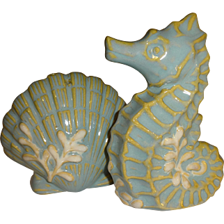 Blue Seahorse and Shell Salt and Pepper Shakers