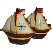 Large Patriotic Sailboats Salt and Pepper Shakers