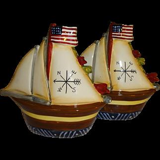 Patriotic Sailboats Salt and Pepper Shakers