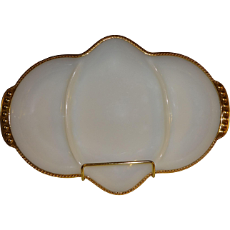 Fire King Milk Glass Relish Dish
