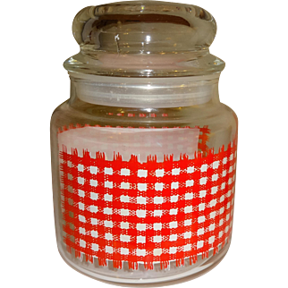 Anchor Hocking Red Checked Glass Storage Jar and Lid