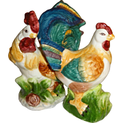Colorful Rooster & Hen Salt and Pepper Shakers