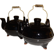 Japan Redware Black Tea Kettles Salt and Pepper Shakers