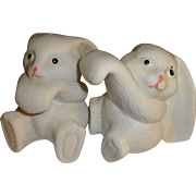White Bunnies with Long Ears Salt and Pepper Shakers