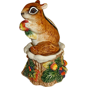 Fitz & Floyd Chipmunk on Tree Stump Salt and Pepper Shakers