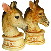 Giraffe Heads Chess Pieces Salt and Pepper Shakers - Made in Japan
