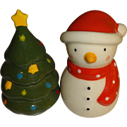 Mini Snowman & Christmas Tree Salt and Pepper Shakers