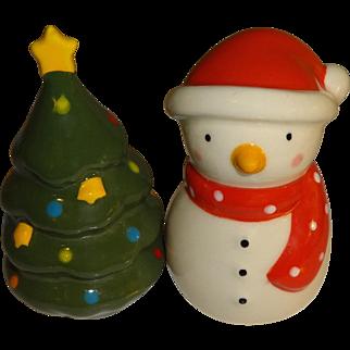 Mini Snowman & Christmas Tree Salt and Pepper Shakers