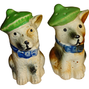 Dogs Wearing Green Hats Salt and Pepper Shakers