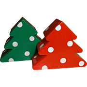 Hallmark Plastic Christmas Tree's Salt and Pepper Shakers