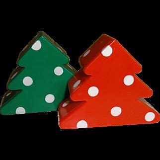 Hallmark Plastic Christmas Tree's Salt and Pepper Shakers