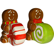 Gingerbread Men with Candy Salt and Pepper Shakers