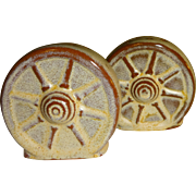 Frankoma Wagon Wheels Salt and Pepper Shakers
