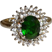 Green Emerald CZ and Rhinestone Ring - Size 9