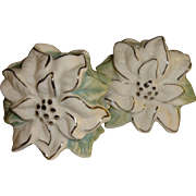 White Poinsettia Flower Salt and Pepper Shakers - Red Tag Sale Item
