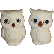Miniature White Owls Salt and Pepper Shakers