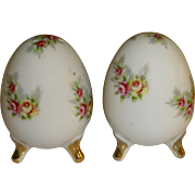 Enesco Porcelain Flowered Eggs Salt and Pepper Shakers