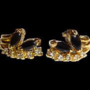 Vintage Black Naiveté and Rhinestone Pierced Earrings
