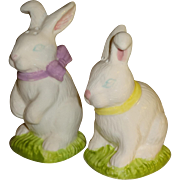 White Easter Bunnies Salt and Pepper Shakers