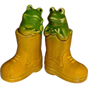 Stoneware Frog and Boot Salt and Pepper Shakers