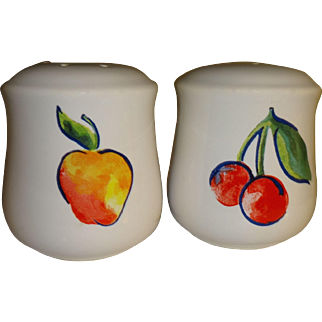 Apple and Cherry Stoneware Salt and Pepper Shakers