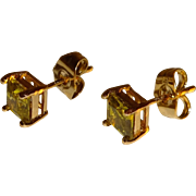 Citrine CZ Square Pierced Earrings