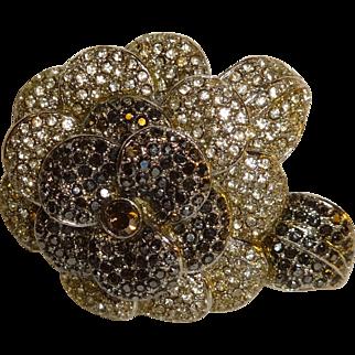 Signed Avon Hematite and Rhinestone Flower Pin