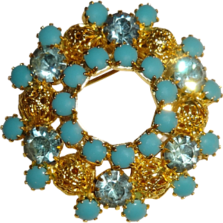 Vintage Turquoise and Blue Topaz Round Pin