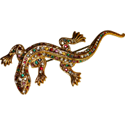 Signed Made in West Germany Jeweled Lizard Pin