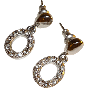 Vintage Silver Tone Rhinestone Pierced Dangle Earrings