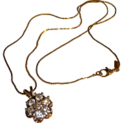 Vintage Signed Monet Rhinestone Necklace with Snake Chain