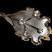 Vintage Folded Rhinestone Flower Pendant Pin