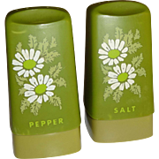 Avocado Green Flowered Salt and Pepper Shakers