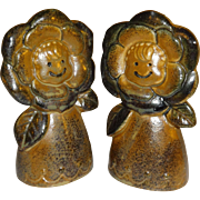 Stoneware Flowers Salt and Pepper Shakers - Made in Japan